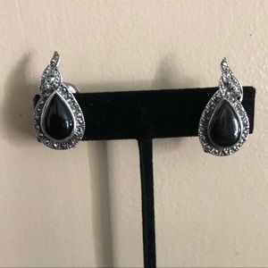 Jewelry - Sterling Silver marcasite and onyx clip earrings